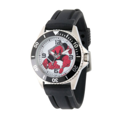 jcpenney.com | Marvel® Mens Deadpool White Dial Black Rubber Strap Watch