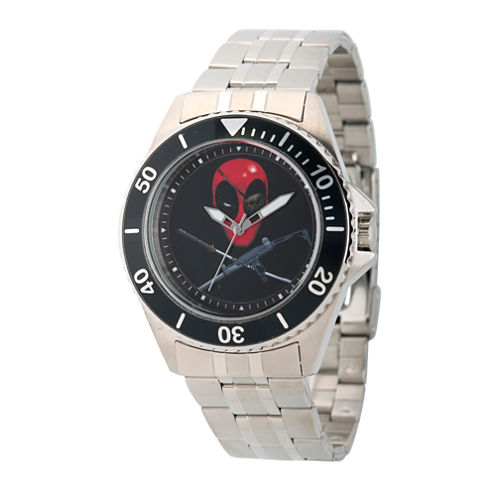 Marvel® Mens Deadpool Silver-Tone Stainless Steel Bracelet Watch