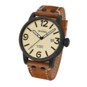TW Steel Maverick Mens Automatic Black Dial Brown Vintage Leather Strap Watch