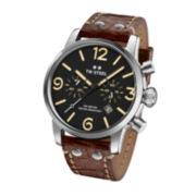 TW Steel Maverick Mens Cream Dial Brown Leather Strap Watch