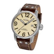 TW Steel Maverick Mens Automatic Cream Dial Brown Leather Strap Watch