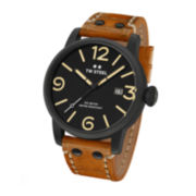 TW Steel Mens Maverick Chronograph Black Dial Brown Vintage Leather Strap Watch