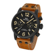 TW Steel Mens Maverick Automatic Black Dial Brown Vintage Leather Strap Watch