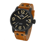 TW Steel Mens Maverick Automatic Black Dial Brown Vintage Leather Strap Watch