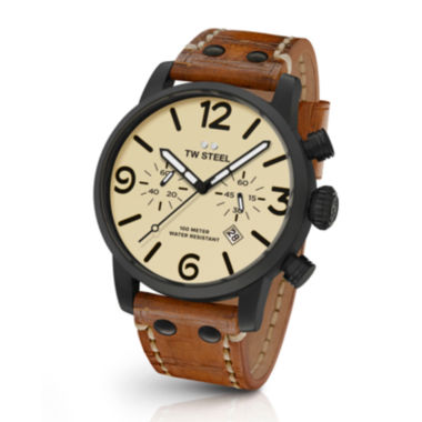 jcpenney.com | TW Steel Mens Maverick Automatic Cream Dial Tan Vintage Leather Strap Watch
