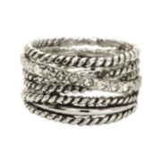 city x city® Crystal Silver-Plated Brass Multi-Band Cocktail Ring