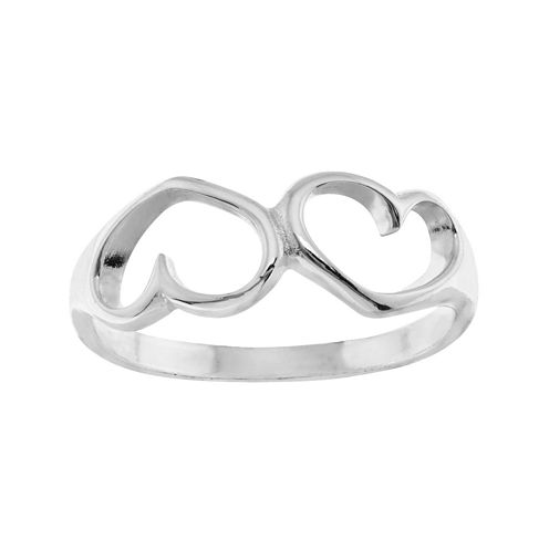 itsy bitsy™ Sterling Silver Double Heart Pinky Ring