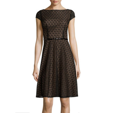 jcpenney.com | Black Label by Evan-Picone Cap-Sleeve Belted Lace Fit-and-Flare Dress