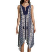 a.n.a® Sleeveless Print High-Low Dress with Lace-Up Neck