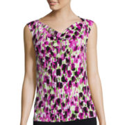 Black Label by Evan-Picone Sleeveless Abstract Print Blouse