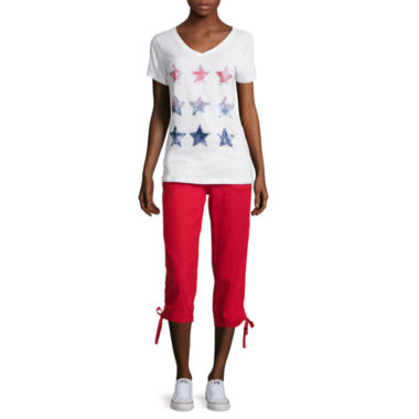 jcpenney.com | St. John's Bay® Short-Sleeve Graphic Tee or Drawstring Cropped Pants - Tall