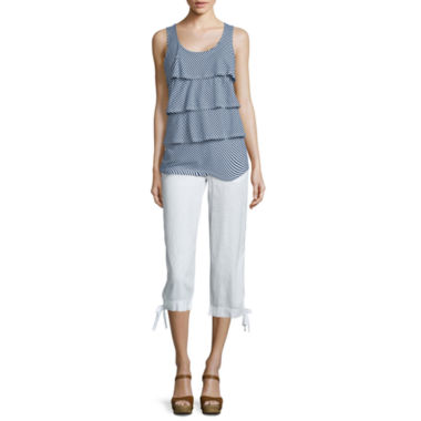 jcpenney.com | St. John's Bay® Tiered Stripe Tank Top or Drawstring Cropped Pants - Tall