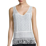 a.n.a® Crochet Fringe Tank Top - Tall