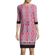 Liz Claiborne® 3/4-Sleeve Belted Sheath Dress