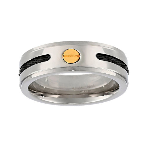 Mens Stainless Steel Wedding Band with Cable Inlay and Gold IP Plated Screw Accent
