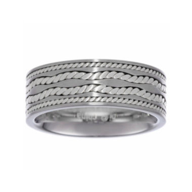 jcpenney.com | Mens Stainless Steel Ring with Sterling Silver Inlay