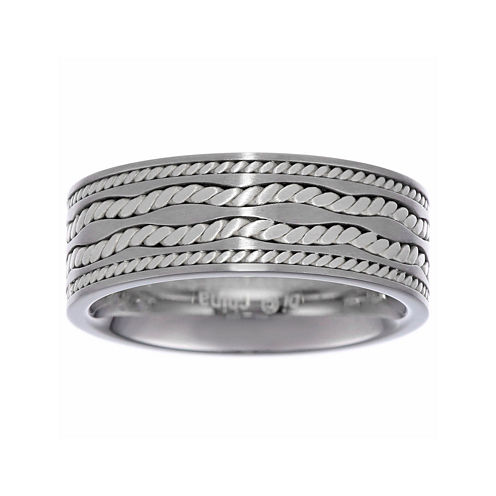 Mens Stainless Steel Ring with Sterling Silver Inlay