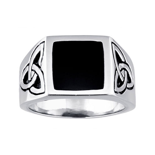 Mens Stainless Steel Celtic Knot Ring with Resin