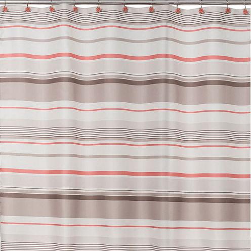 Saturday Knight Coral Garden Stripe Shower Curtain
