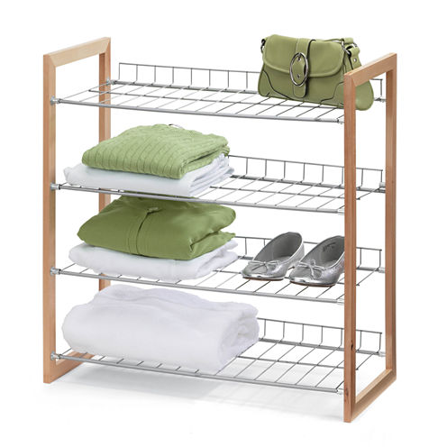 Honey-Can-Do® 4-Tier Wood and Metal Storage Shelf