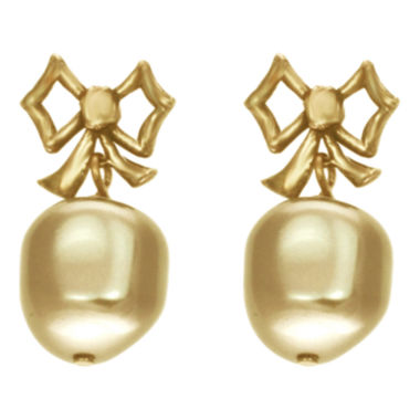 jcpenney.com | dom by dominique cohen Gold-Tone Pearlescent Bow Earrings