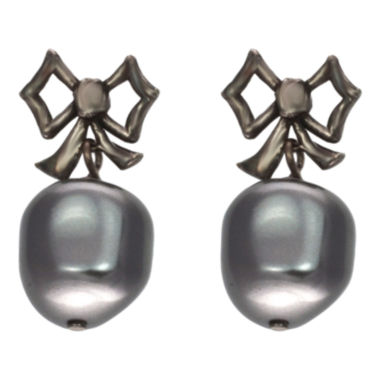 jcpenney.com | dom by dominique cohen Gunmetal Pearlescent Bow Earrings