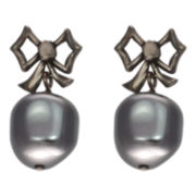 dom by dominique cohen Gunmetal Pearlescent Bow Earrings