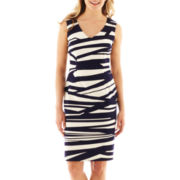 Black Label by Evan-Picone Sleeveless Print Sheath Dress