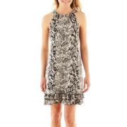 R&K Originals® Sleeveless Print Ruffle-Hem Dress