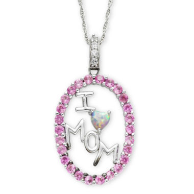 "jcpenney.com | Lab Created Pink & White Sapphire ""I Heart Mom"" Pendant Necklace"