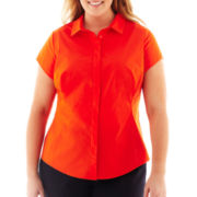 Worthington® Short-Sleeve Button-Front Blouse - Plus