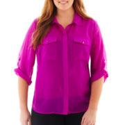 Como Black 3/4 Roll-Sleeve Button-Front Shirt - Plus