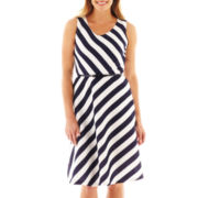 Black Label by Evan-Picone Sleeveless Striped Dress