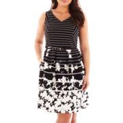Danny & Nicole® Sleeveless Belted V-Neck Dress - Plus