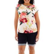 Stylus™ High-Low T-Shirt or Denim Bermuda Shorts - Plus