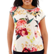 Stylus™ Short-Sleeve Floral Print High-Low T-Shirt - Plus