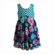 Youngland Chevron and Floral Tiered Dress - Toddler Girls 2t-4t