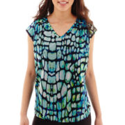 Worthington® Shoulder-Pleat V-Neck Top - Petite