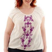 St. John's Bay® Embroidered Peasant Shirt - Plus