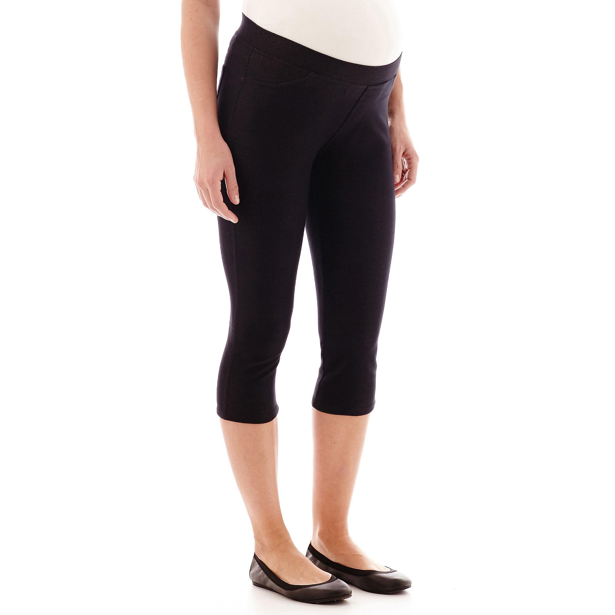 Maternity Denim Knit Low Panel Pull-On Capris plus size,  plus size fashion plus size appare