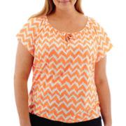 St. John's Bay® Short-Sleeve Tie-Front Top - Plus