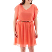 by&by Sleeveless Belted Solid Dress - Plus
