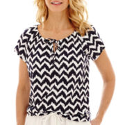 St. John's Bay® Short-Sleeve Chevron Tie-Front Peasant Top