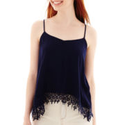 Rewind Sleeveless Crochet-Hem Tank Top
