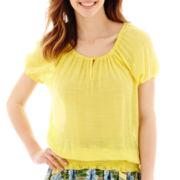 Olsenboye® Cap-Sleeve Gauze Peasant Top