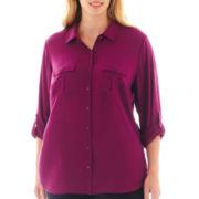 a.n.a® 2-Pocket Rayon Shirt - Plus