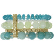 ROX by Alexa Aquamarine & Jade 5-Row Stretch Bracelet