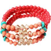 ZOË + SYD Coral & Turquoise Multi-Row Bracelet