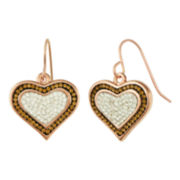 Rose & Chocolate Crystal Heart Earrings