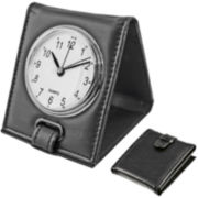 Faux-Leather Travel Alarm Clock
